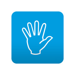 Etiqueta tipo app azul simbolo mano