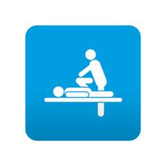 Etiqueta tipo app azul simbolo quiropráctica