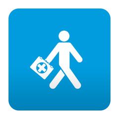 Etiqueta tipo app azul simbolo primeros auxilios