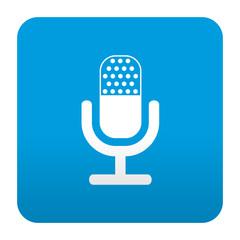 Etiqueta tipo app azul simbolo microfono