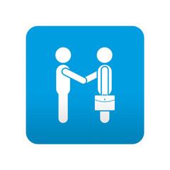 Etiqueta tipo app azul simbolo saludo