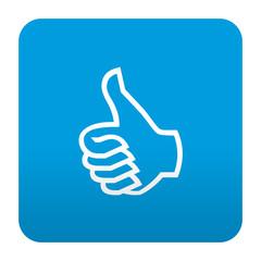 Etiqueta tipo app azul simbolo like