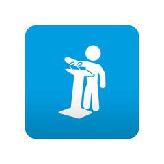 Etiqueta tipo app azul simbolo politico