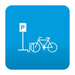 Etiqueta tipo app azul simbolo parking para bicicletas
