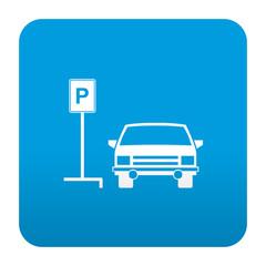Etiqueta tipo app azul simbolo parking para coches