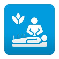 Etiqueta tipo app azul simbolo acupuntura
