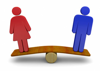 Man And Woman Sex Equality Concept - 3D