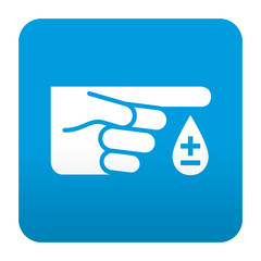 Etiqueta tipo app azul simbolo grupo sanguineo