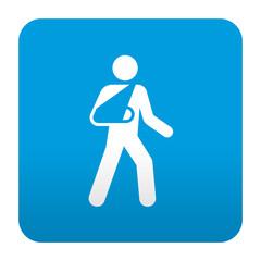 Etiqueta tipo app azul simbolo brazo en cabestrillo