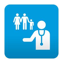 Etiqueta tipo app azul simbolo medico de familia