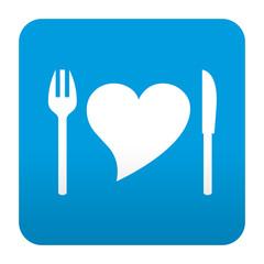 Etiqueta tipo app azul simbolo comida sana