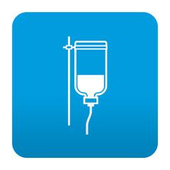 Etiqueta tipo app azul simbolo transfusion de sangre