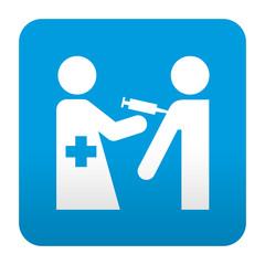 Etiqueta tipo app azul simbolo vacunacion