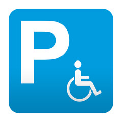 Etiqueta tipo app azul simbolo parking para minusvalidos