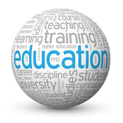 """EDUCATION"" Tag Cloud Globe (training university degree exam)"