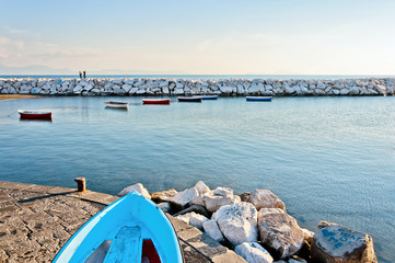 Naples bay with boats and Mediterranean sea