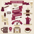 Retro coffee silhouettes on aged background