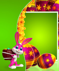 easter bunny with egg basket and sign