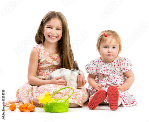 little girls and rabbit