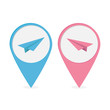 Set of map pointers  with origami paper plane icon. Blue and blu