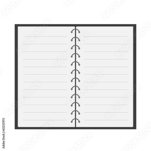 Open notebook  with spiral and blank lined paper. Flat design. I
