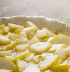 apple Tart preparation,close up