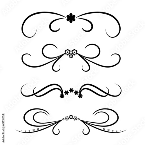 Calligraphic design element set with flowers.