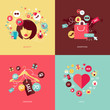 Obrazy na płótnie, fototapety, zdjęcia, fotoobrazy drukowane : Set of flat design concept icons for beauty and shopping
