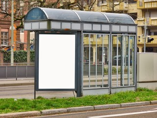 Empty billboard on tram stop