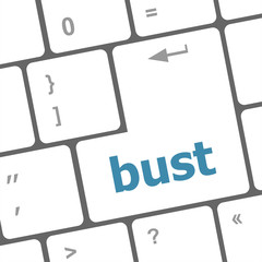 bust word icon on laptop keyboard keys