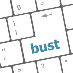 bust word icon on laptop keyboard keys