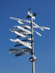Signpost showing distances to cities