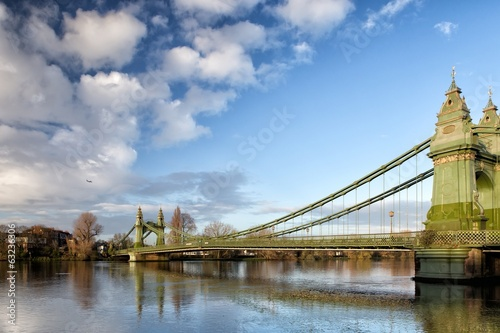 canvas print picture Hammersmith Bridge over the river Thames in London, England, UK