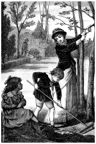 Family : Gardening - Jardiner en Famille - 19th century