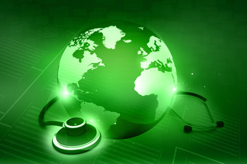 Stethoscope and world. global healthcare concept
