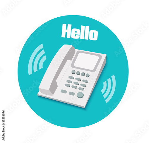 Phone in flat design. Landline phone