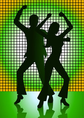 Couples dancing with green light as the background