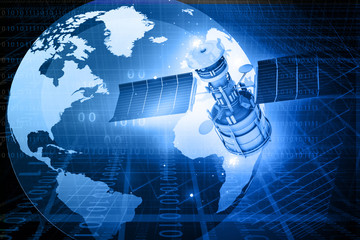 Satellite communications concept, abstract background