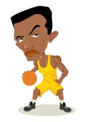Caricature illustration of a man playing basketball