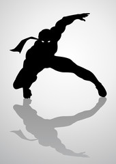 Silhouette illustration of a masked superhero