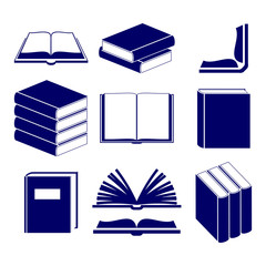 Book icons set  vector  illustration