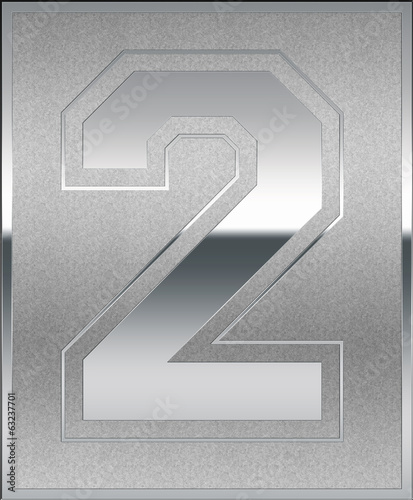 Silver Casted Number 2 Position, Place Sign