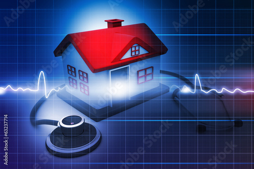 House with stethoscope on abstract medical background .