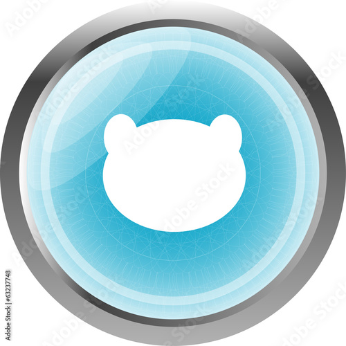 Teddy Bear Toy Head web icon isolated on white