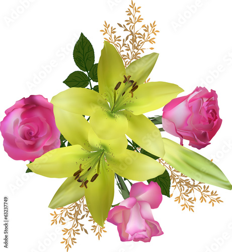 yellow lily and pink rose flowers isolated on white