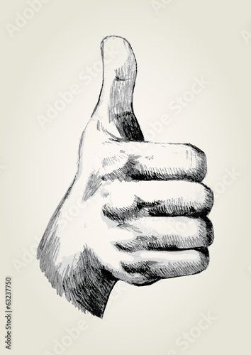 Sketch illustration of thumb up