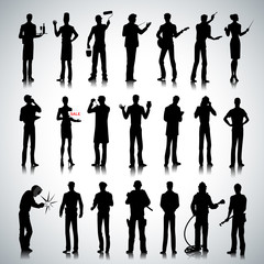 Silhouettes of different professions men