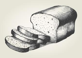 Sketch illustration of sliced bread