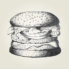 Sketch illustration of a hamburger