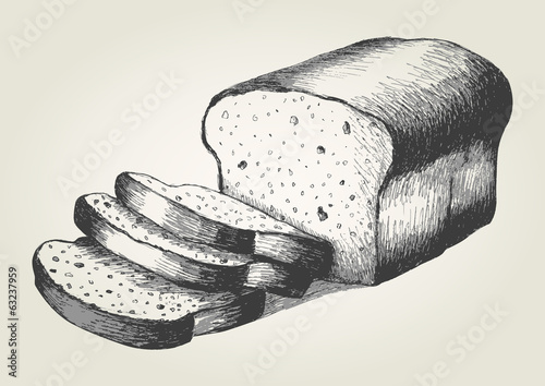 Sketch illustration of sliced bread